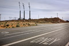 Road to a power plant. Stock Images