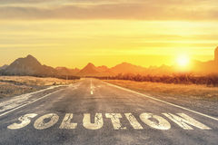 Road to problem solving. Natural landscape with word solution written on road Royalty Free Stock Photo