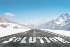 Road to problem solving. Natural landscape with word solution written on road Stock Images