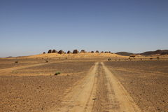 Road to the pyramids of the Kushite rulers at Meroe. Ruined pyramids of Meroe, Sudan Stock Images