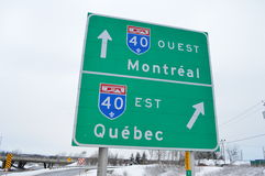 Road to Quebec and Montreal Stock Photos