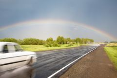 Road to the rainbow. Royalty Free Stock Photos