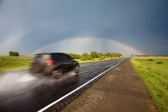 Road to the rainbow. Royalty Free Stock Image