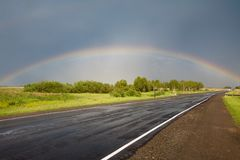Road to the rainbow. Stock Photo