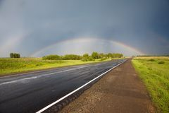 Road to the rainbow. Stock Image