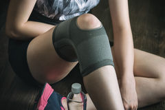 On the road to recovery for knee injury, fitness exercise Royalty Free Stock Photo