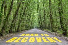 Road to Recovery. Written on jungle road stock image
