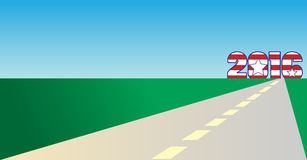 Road to 2016. Red white and blue 2016 American theme year with a road, landscape and sky background with space for text stock illustration