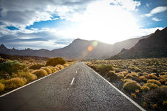 The road to the reserve Tenerife in sunrice, Spain Royalty Free Stock Image