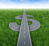 Road To Riches. As a winning  financial concept of making money and achieving business success with roads and highways in the shape of a dollar sign on green Stock Photo