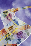 Road to Riches. Euro currency as a money highway stock photography