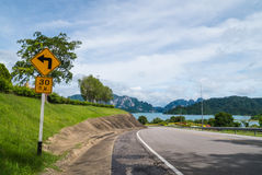 Road to river and mountains Ratchaprapha Dam Surat Thani provinc Royalty Free Stock Photos