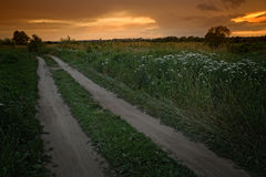 The road to the Russian heartland. A dirt road during the sunset. Central Russia Royalty Free Stock Photography