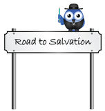 Road to Salvation. Street name sign isolated on white background Stock Photo