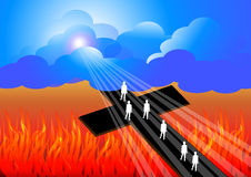 Road to salvation. Illustration of road to heaven royalty free illustration