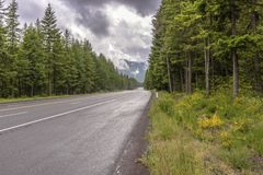 The Road to Sandy Oregon from Mt. Hood. Oregon travels from Mt. Hood to Sandy Oregon stock photo