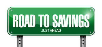Road to savings sign illustration design Royalty Free Stock Photos