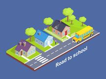 Road to School Through Cottage Town with Crosswalk. Main road, green lawn and garden full of trees vector isometric illustration  on blue Stock Photography