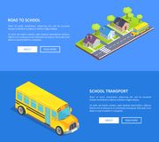 Road to School Through Cottage Town and Yellow Bus. Road to school through cottage town with crosswalk, main road, green lawn and yellow bus vector isometric web Stock Images