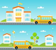 Road to and from school. School bus, school building, houses along the street Royalty Free Stock Image