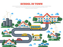 Road to School in Town  on White Royalty Free Stock Photography