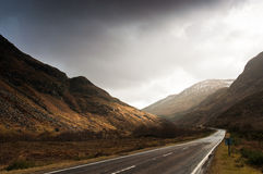 Road to Scottish Highlands Royalty Free Stock Photos
