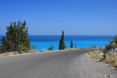 Road to the sea. On Lefkas island Greece Royalty Free Stock Photos