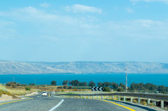 Road to the Sea of Galilee. Road leading to the Sea of Galilee. Location near ancient Capernaum village, Israel Royalty Free Stock Photography