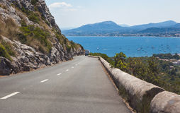Road to the sea. Mountain road to the sea. From Formentor to Pollenca. Majorca, Spain Stock Photos