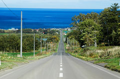 Free Road To Sea Of Okhotsk, Hokkaido, Japan Royalty Free Stock Images - 97288279