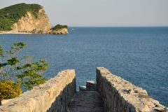 The road to the sea in an old fortress in Budva. Montenegro Royalty Free Stock Images