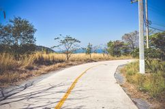 Road to the sea on the Si Chang in Thailand. Toned vintage effect Royalty Free Stock Images