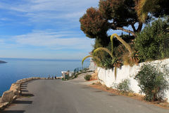 The road to the sea, Spain, Benidorm. Beautiful view of the road, and sea travelers Royalty Free Stock Image