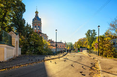 The road to the Second Lavrsky bridge and Mitropolichiy Metropolitan garden. Stock Photography