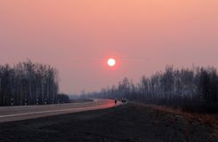 Road to Siberia in winter sunset. Royalty Free Stock Images