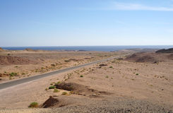 Road to Sinai desert . Stock Photo