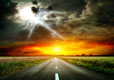 Road to the sky royalty free stock images