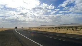 Road to sky in Fuerteventura. The road that crosses the dune of corralejo to fuerteventura spain stock images