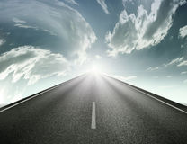 Road to the sky. The highway straight to the sky mean success Stock Photography