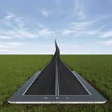 Road to the sky from tablet pc Royalty Free Stock Photos