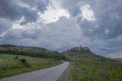 Castle Spiski landscape on stormy evening royalty free stock photo