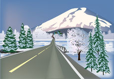 Road to snow mountain illustration Royalty Free Stock Photography