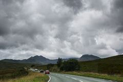 Road to Snowdonia. With cars passing by Royalty Free Stock Photography