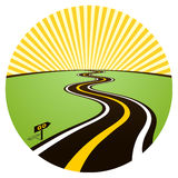 Road to solar horizon. Vector illustration stock illustration