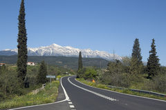 Road to Sparti and Taygetus mountains Royalty Free Stock Image