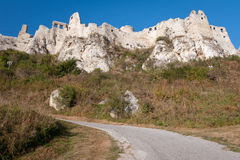 Road to Spis castle, Slovakia. Road leading to Spis castle in eastern Slovakia royalty free stock image