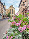 Road to St.Martin church in Colmar, France Stock Photos