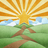Road to star recycled paper craft and rainbow Royalty Free Stock Photo