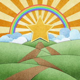 Road to star recycled paper craft and rainbow Stock Image