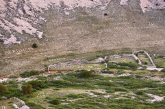 Road to Stara Baska - Stone writings on the mountains close up Stock Photography
